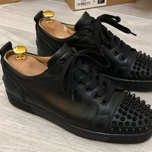 Christian Louboutin black calf junior spikes sneak